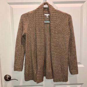 Tan Knit Collared Sweater Cardigan